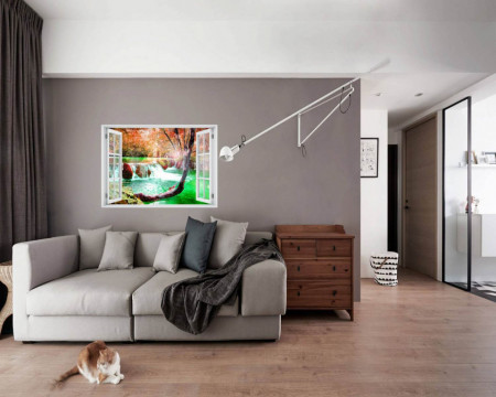 Stickere pentru pereți, Fereastra 3D cu vedere spre o cascadă fermecată
