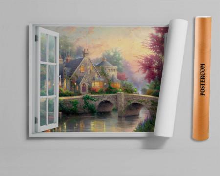 Stickere pentru pereți, Fereastra cu vedere spre o casă de povești