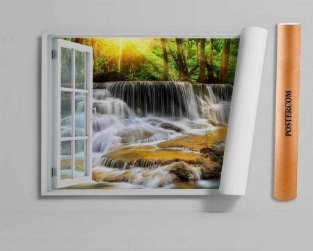 Stickere pentru pereți, Fereastra cu vedere spre o cascadă din pădure