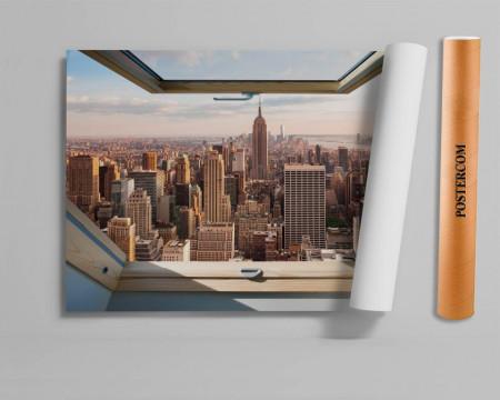 Stickere pentru pereți, Fereastra cu vedere spre un oraș mare