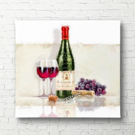 Tablouri Canvas, Sticla de vin cu un pahar pe masa