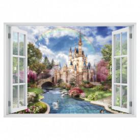 Fereastră falșă, Fereastră 3D cu vederea spre un castel înconjurat de lebede