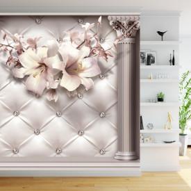 Fototapet 3D, Flori de crin albe din pietre prețioase pe un fundal cu coloane grecești