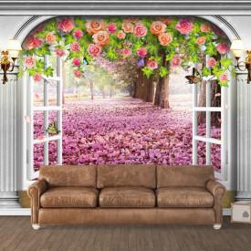 Fototapet 3D, Ieșire arcuită spre grădina de flori roz