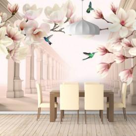 Fototapet 3D, Magnolii albe și păsări Colibri pe fundalul unui tunel cu coloane grecești