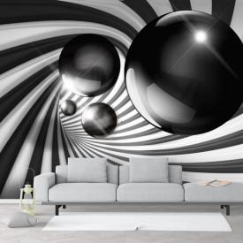 Fototapet 3D, O sferă gri și un tunel în dungi