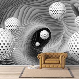 Fototapet 3D, Sfere pe un fundal gri