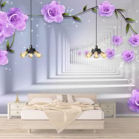 Fototapet 3D, Trandafiri lila în tunel
