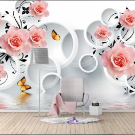 Fototapet 3D, Trandafiri și cercuri pe un fundal alb