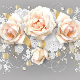 Fototapet 3D, Un buchet de trandafiri roz pe fundal gri