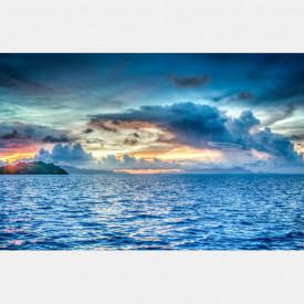Fototapet, Apusul de soare și un peisaj maritim