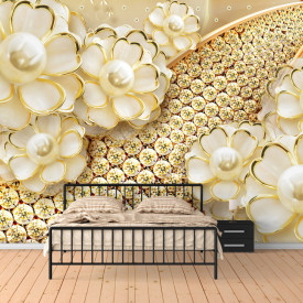 Fototapet, Broșa de aur sub formă de flori pe un fundal auriu