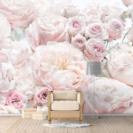 Fototapet, Bujori de culoare purdră și trandafiri gingași