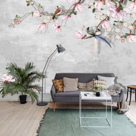 Fototapet, Crenguța cu flori roz de magnolie și păsări pe un fundal cenușiu