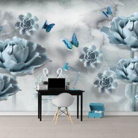 Fototapet, Flori albastre și lebede de cristal