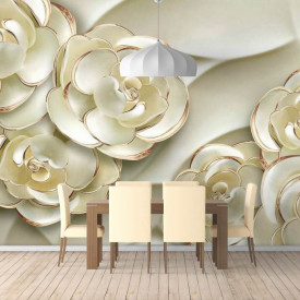 Fototapet, Flori albe cu vârfuri aurii pe un fundal alb