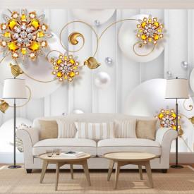 Fototapet, Flori aurii pe un fundal alb abstract cu sfere
