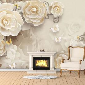 Fototapet, Flori bej și fluturi albi pe un fundal alb