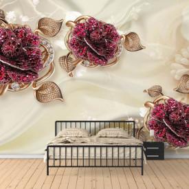 Fototapet, Flori din nestemate pe un fundal de mătase bej