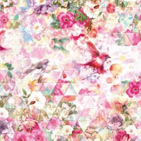 Fototapet, Flori multicolore și păsări mici
