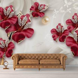 Fototapet, Flori roșii și pietre prețioase pe un fundal alb
