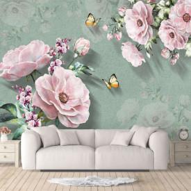Fototapet, Flori roz pal pe un fundal verde