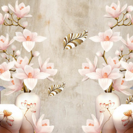 Fototapet, Flori roz pe un fundal cenușiu