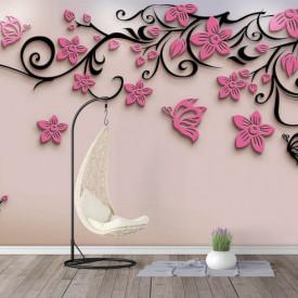Fototapet, Flori roz și ornamente negre pe un fundal alb