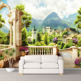 Fototapet Fresco, Fototapete cu o vedere la munți de la balcon