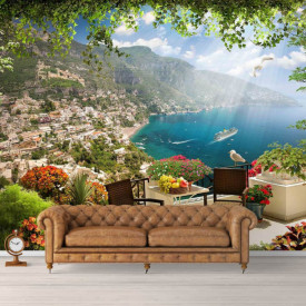 Fototapet Fresco, O terasă cu o vedere frumoasă la lac