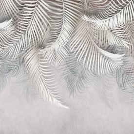 Fototapet, Frunze de palmier albe pe un fundal alb 2