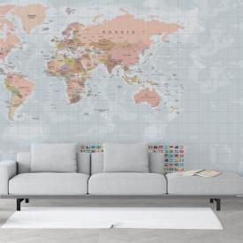 Fototapet, Harta politică a lumii cu steaguri