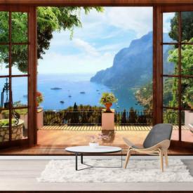Fototapet, O priveliște de la fereastră maro spre lac și munți