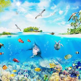 Fototapet, Oceanul albastru cu delfin și pește sub apă