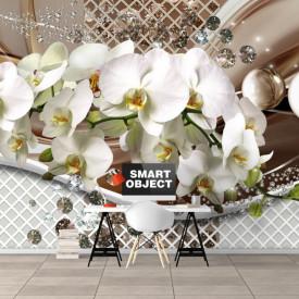 Fototapet, Orhidee albe și pietre prețioase pe fundal 3D