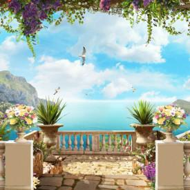 Fototapet, Priveliște de la balcon la ocean