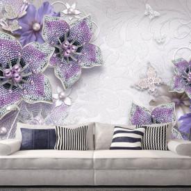 Fototapete 3D, Flori violete cu pietre prețioase pe un fundal gri