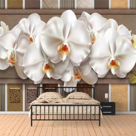 Fototapete 3D, Orhidee gingașe pe un fond din piele