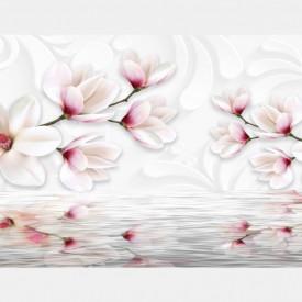 Fototapete, Flori albe,gingașe lângă apă