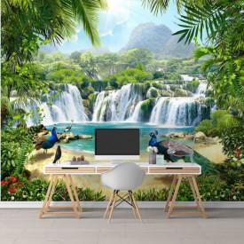 Fototapete, Insula minunată cu un păun albastru.