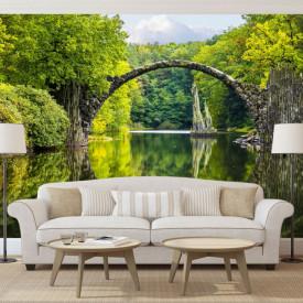 Fototapete, Peisaj cu un pod de-a lungul lacului și copaci