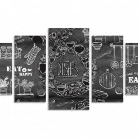 Multicanvas, Tabla neagră cu inscripții albe