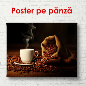 Poster, Ceașcă de cafea cu boabe de cafea pe un fundal maro
