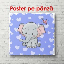 Poster, Elefantul pe un fundal albastru