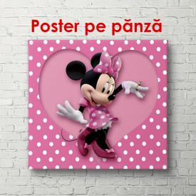 Poster, Mini Mouse pe un fundal roz cu inimi