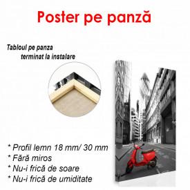 Poster, Moped roșu în orașul alb-negru