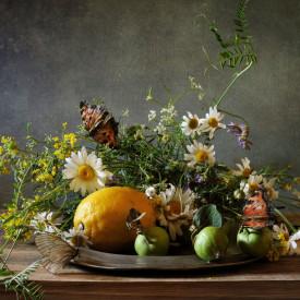 Poster, Natură moartă cu flori și lămâie