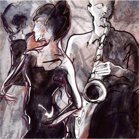 Poster, Un bărbat care cântă la saxofon