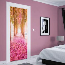 Stickere 3D pentru uși, Aleea cu flori roz, 1 foaie de 80 x 200 cm