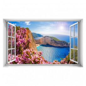Stickere pentru pereți, Fereastra cu vedere spre mare și flori roz